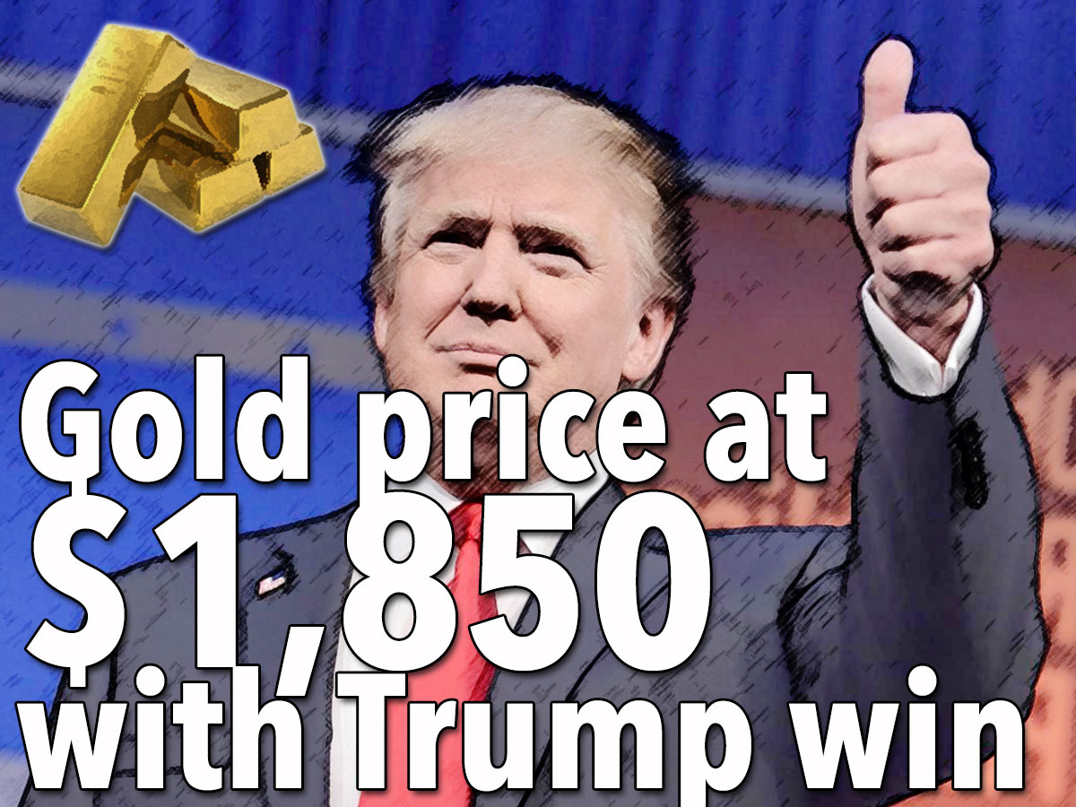 Gold price at $1,850 with Trump win